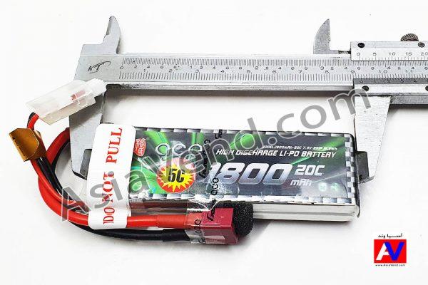 ابعاد باتری جنس ایس 2 سل 1800 میلی آمپر 600x400 باتری ماشین کنترلی Gens ace 1800mAh 2S