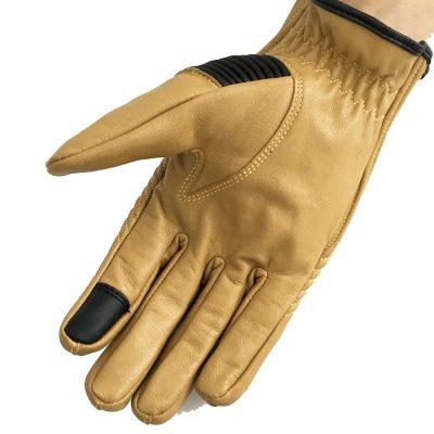 دستکش کافه ریسر چرمی زرد رنگ زیبا