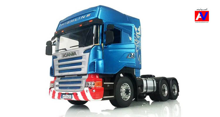ماشین سنگین اسکانیا کنترلی برند LESU RC Scania رنگ آبی زیبا