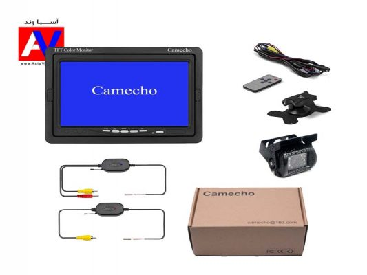 محتویات جعبه و اقلام همراه کیت دوربین دنده عقب بی سیم خودرو برند Camecho 533x400 دوربین دنده عقب بی سیم Camecho