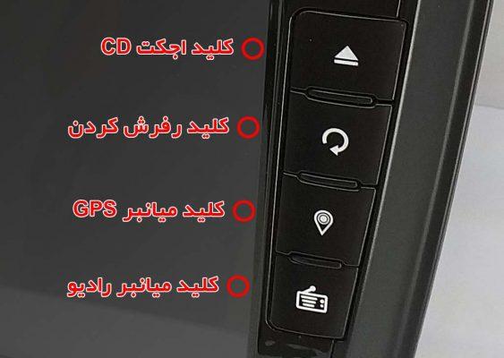 کلید های سخت افزاری مانیتور سمندLX تعبیه شده در سمت راست 563x400 خرید مانیتور سمند LX | مشخصات فنی   لیست قیمت