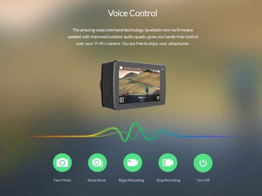 کنترل صوتی دوربین ورزشی YI 533x400 دوربین ورزشی YI 4K Plus