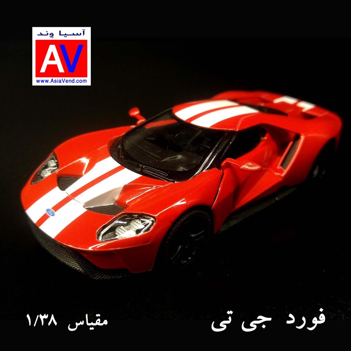 خرید ماکت ماشین آمریکایی ماکت ماشین فلزی فورد مقیاس 1/32 رنگ قرمز Ford GT Model Car