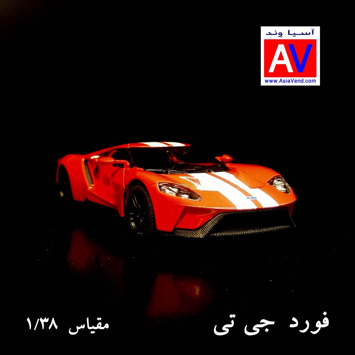 ماشین اسپورت ماکت ماشین فلزی فورد مقیاس 1/32 رنگ قرمز Ford GT Model Car