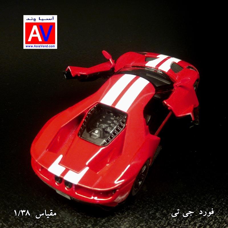 car scale car asiavend ماکت ماشین فلزی فورد مقیاس 1/32 رنگ قرمز Ford GT Model Car