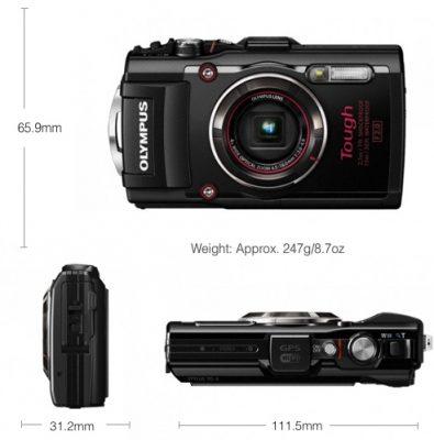 ابعاد دوربین دیجیتال Tough TG4 395x400 دوربین کامپکت المپوس TG 4