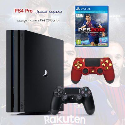 پلی استیشن 4 پرو دو دسته و بازی PES 2018